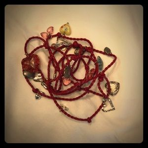 Red leather  charm bracelet/necklace